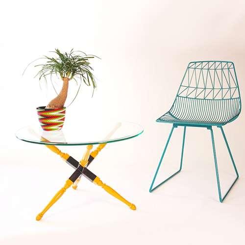 ghế sắt cafe lucy wire đẹp màu xanh