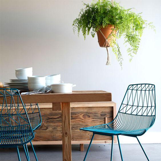 ghế sắt cafe lucy wire đẹp màu xanh 2