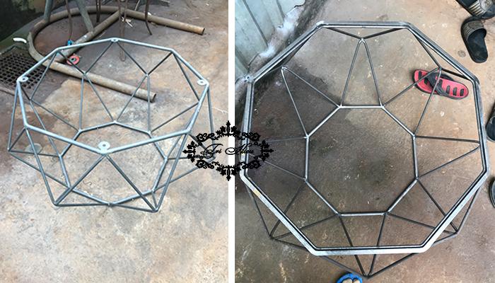 bàn ghế sắt cafe kim cương 1
