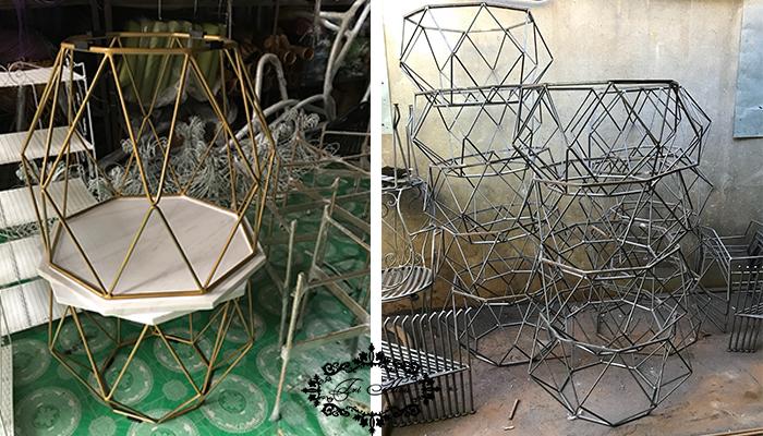 bàn ghế sắt cafe kim cương 2