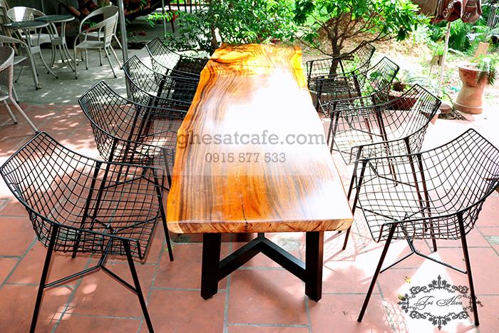 bàn ghế cà phê sắt ngoài trời sân thượng đẹp