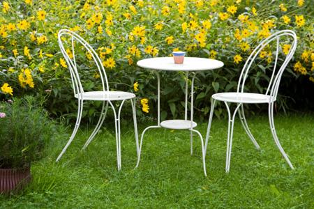 bàn ghế cà phê sắt ngoài trời sân thượng
