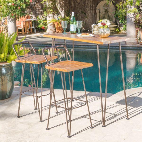 Bàn ghế cà phê sắt ngoài trời ngoài bể bơi