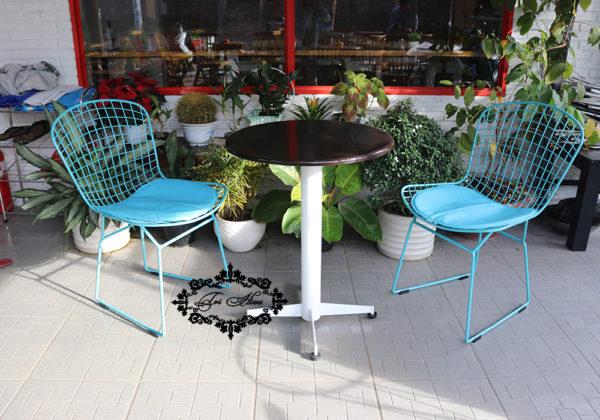 Ghế sắt cafe ngoài trời màu xanh