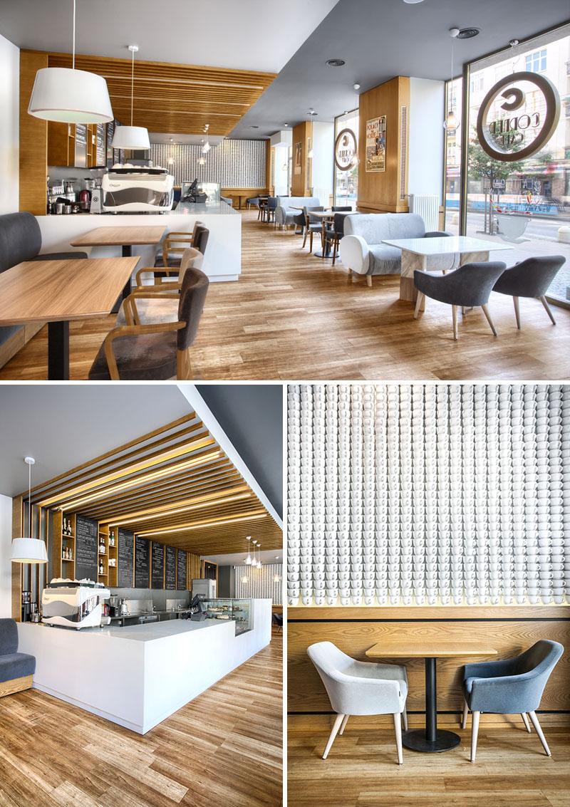 Quán cafe hiện đại có điểm nhấn nội thất