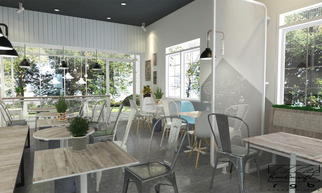 quán cafe có ghế tolix