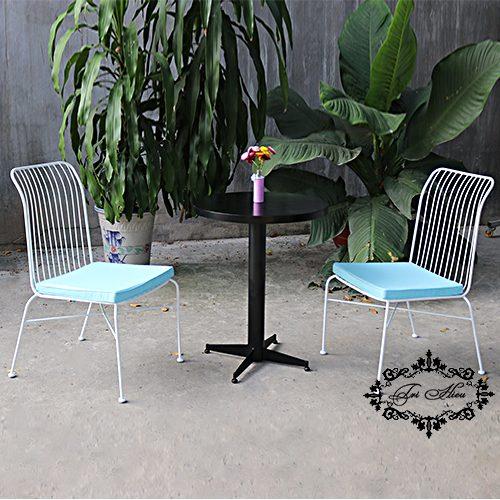ghế sắt cafe trắng